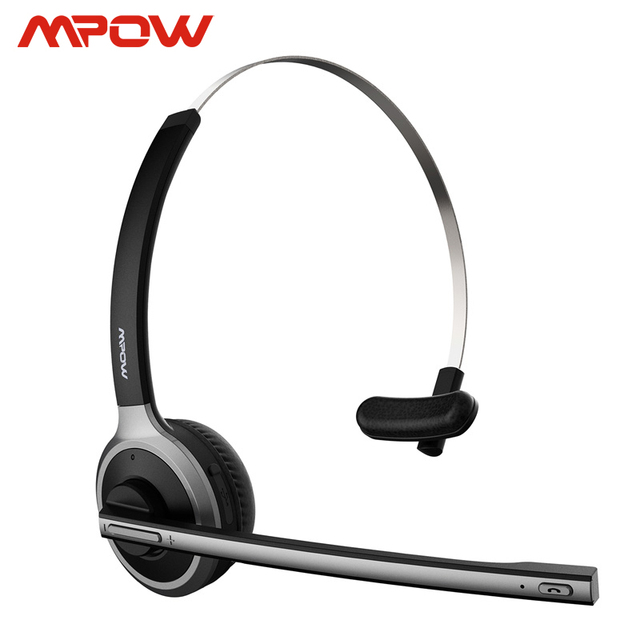 Mpow M5 Bluetooth V5.0 אוזניות אלחוטי משאית נהג אוזניות דיבורית שיחת אוזניות עם מיקרופון למוקד טלפוני משרד סקייפ