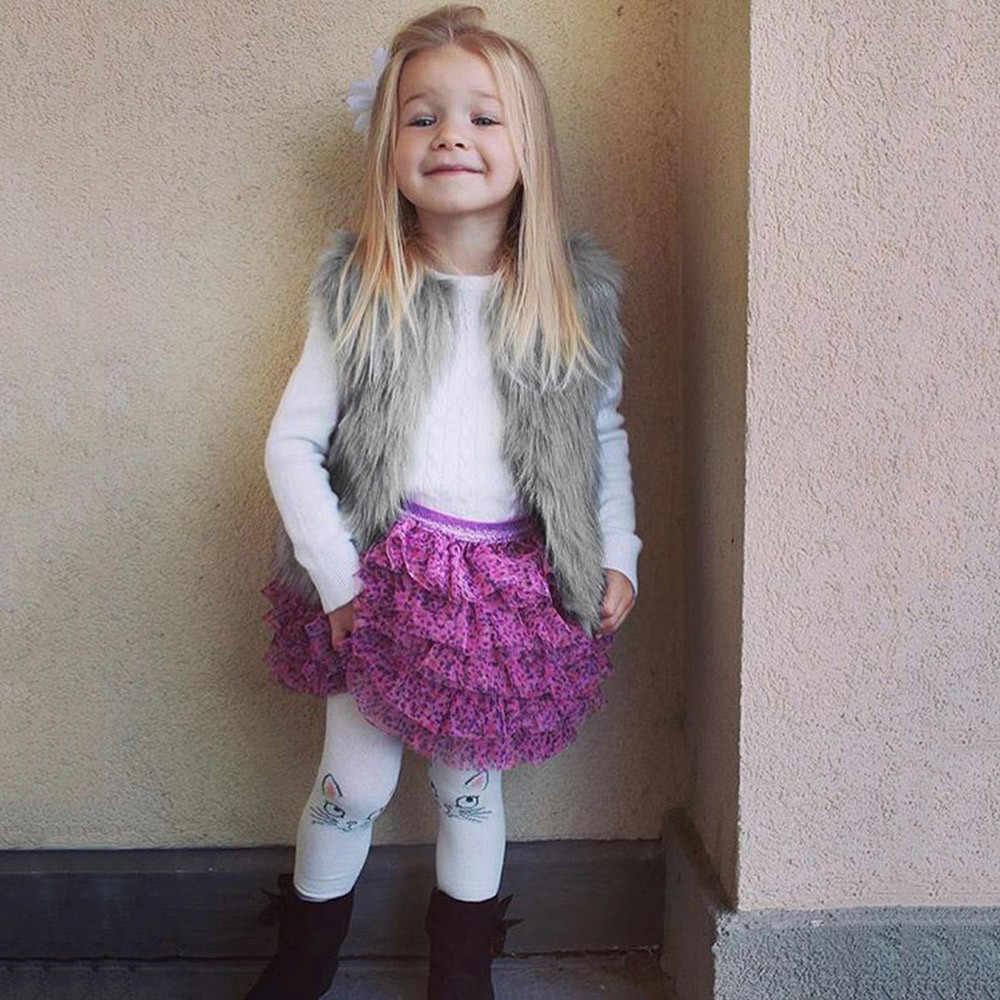 Kinder Baby Mädchen Faux Pelz Weste Dicken Mantel Outwear Winter Warme Kleidung Pelzigen weste für mädchen Kinder Baby Mädchen Dicke mantel Outwear