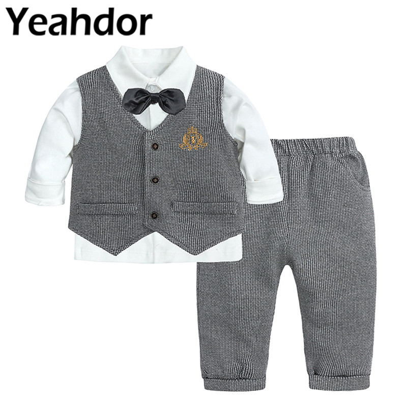 3Pcs Baby Boys Suits Kids Gentleman Suit Bowtie Shirt Vest + Pants Toddler Formal Outfits for Wedding Party Christening Baptism