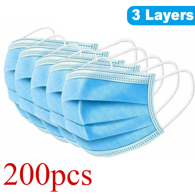 200Pcs 3 Layer Disposable Anti Dust Hygiene Face Mask Non Woven Men Women Anti Fog Flu Face Mouth Masks Breathable Mouth Cover
