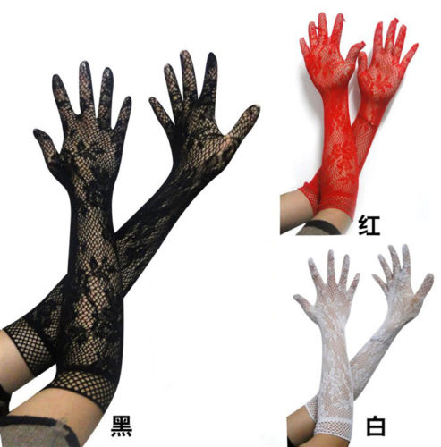 NEW 2020 Women Sexy Lace Gloves Summer Sunscreen Thin Long UV Blocking Gloves Black Lace Gloves 3 Colors For Party