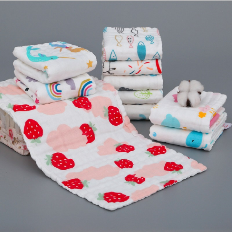 Baby Face Towel Muslin Gauze Cotton Baby Handkerchief Square Baby Towel Hand Wipe Cloth Infant Face Towel Wipe Cloth 25*50cm