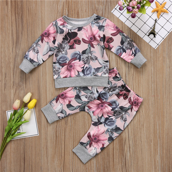 2019 Autumn Winter 2pcs Baby Clothing Newborn Infant Baby Girls Long Sleeve Print T-shirt Tops+Floral Pants Outfits Set Pakistan