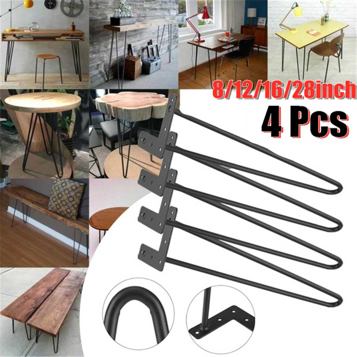 4Pcs Hairpin Table Desk Leg DIY Handcrafts Solid Iron Wire Support Leg For Sofa Cabinet Chairs Furniture Hardware 8/12/16/28inch