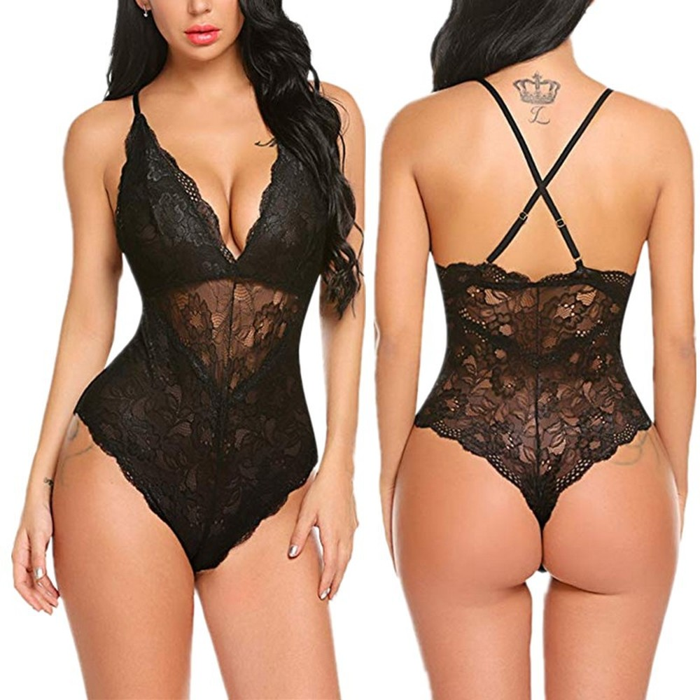 Summer Women Lingerie Sexy Floral Nightwear Female Underwear Lace DeepV Neck Temptation Lenceria Mujer Hot Erotic Plus Size XXXL