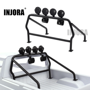 Image 1 - INJORA Metal Roll Cage Bucket with 6 LED Lights for 1/10 RC Crawler Axial SCX10 D90 Tamiya CC01