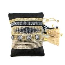 Ins Europe and USA bohemian friendship latest 5pcs one set lady crystal jewelry women handmade woven tassel miyuki bead bracelet(China)