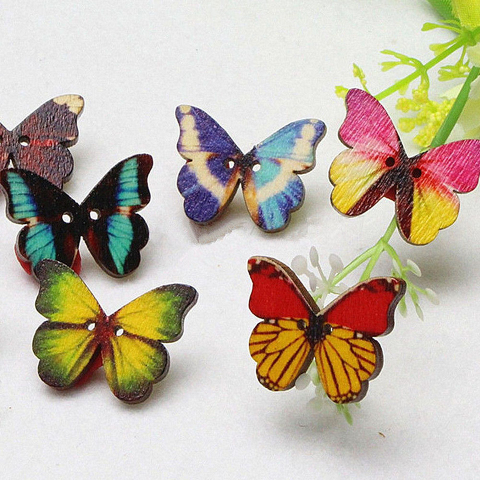 Healifty 50 Botones,Mariposas de Color,Dibujos Animados,y Botones de Madera.