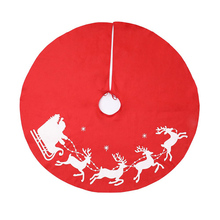 Christmas Tree Cover Skirt Deer Pattern Decoration Round Red for Home Holiday Party LB88