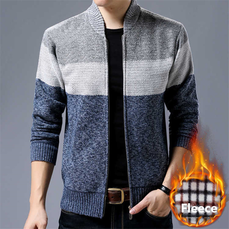 Nice Autumn Winter Men Sweater Casual Stand Collar Thick Warm Sweatercoat Zipper Cardigan Coat Knitted Fleece Cashmere Jacket