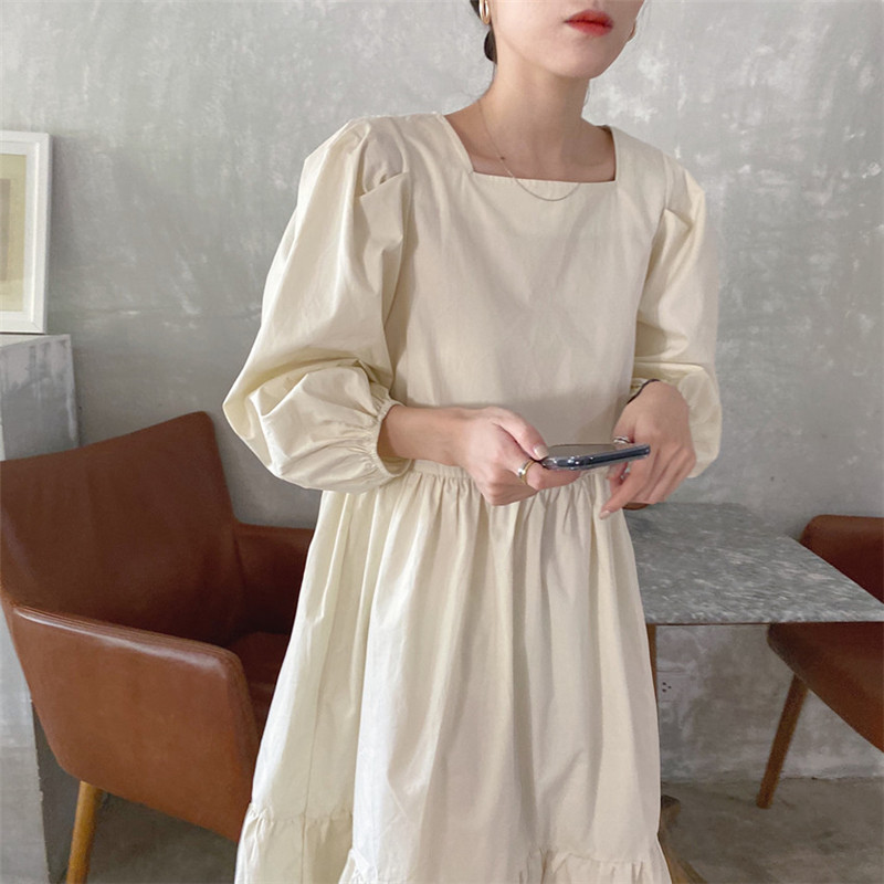 H05c1fd3e79eb4859ba8a5721292c45756 - Spring / Autumn Square Collar Long Lantern Sleeves Loose Solid Midi Dress