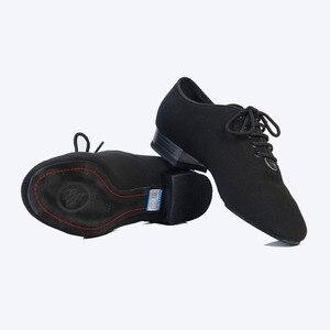 Image 5 - Chaussures de danse Standard pour hommes, chaussures de salle de bal en toile, nappée, semelle extérieure fendue, pour compétition pratique, chaussures de danse modernes