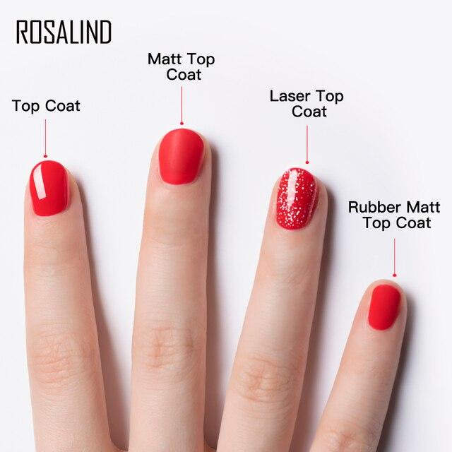 ROSALIND Base Top Primer Matt Gel Nail Polish Semi Permanent Nail Art Foundation Gel Reinforce No Wipe Gel Long Lasting Lacquer 5