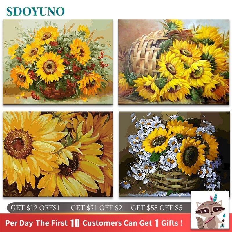 SDOYUNO 60x75 cm cadre peinture à la main par numéros Kits tournesols abstrait moderne maison mur Art photo fleurs peinture par numéros