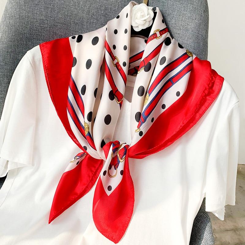 2020 Designer Brand Women Scarf Fashion Print Silk Scarves Square Small Handkerchief Office Neck Hair Scarfs 70*70cm Bandana