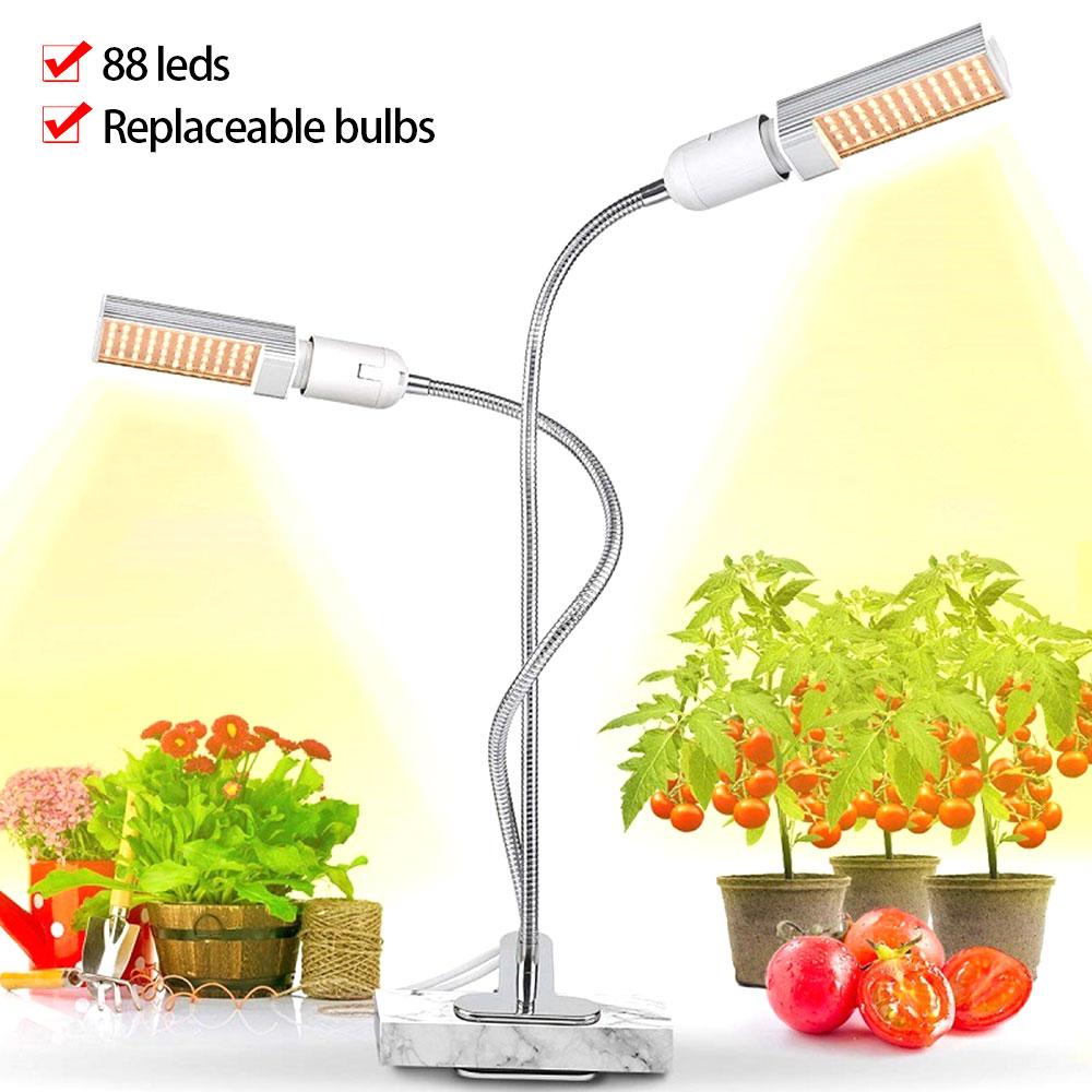 Phyto lâmpada espectro completo led cresce a luz e27 planta lâmpada 45 w 88 leds pode ser escurecido plantas lâmpadas para planta vaso de flor vegetal