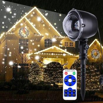 IP65 LED Snowing Projector Light Outdoor Garden Landscape Laser Projector Spotlight Snow Moving Christmas LED Projector Light christmas market snow garden