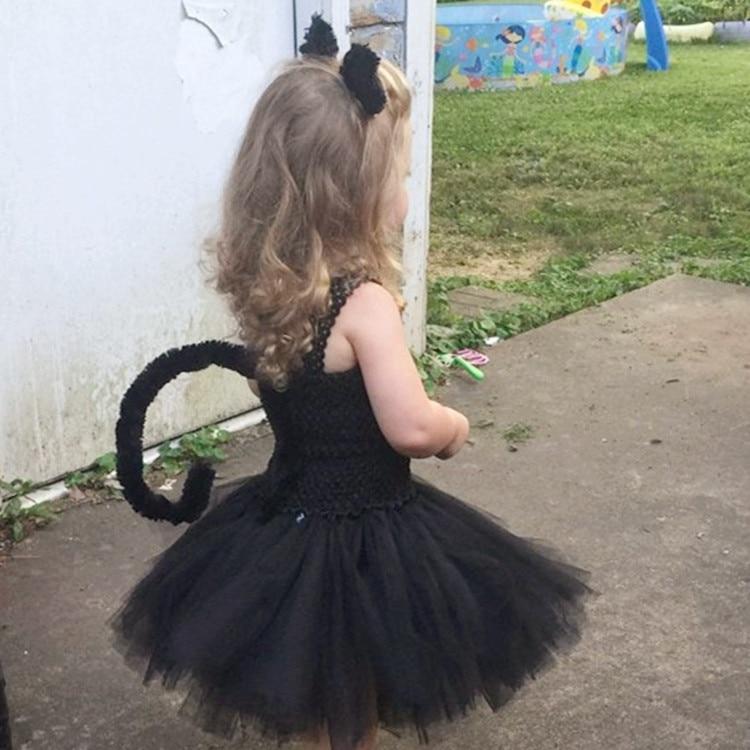 Las niñas de los niños deress disfraces de Halloween juego gato negro vestido tutú diadema corbata cola brasileño vestido