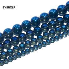 Free Shipping Blue Crystal Quartzs Glass Natural Stone Round Beads For Jewelry Making DIY Bracelet Necklace 6/8/10 /12 MM Strand(China)