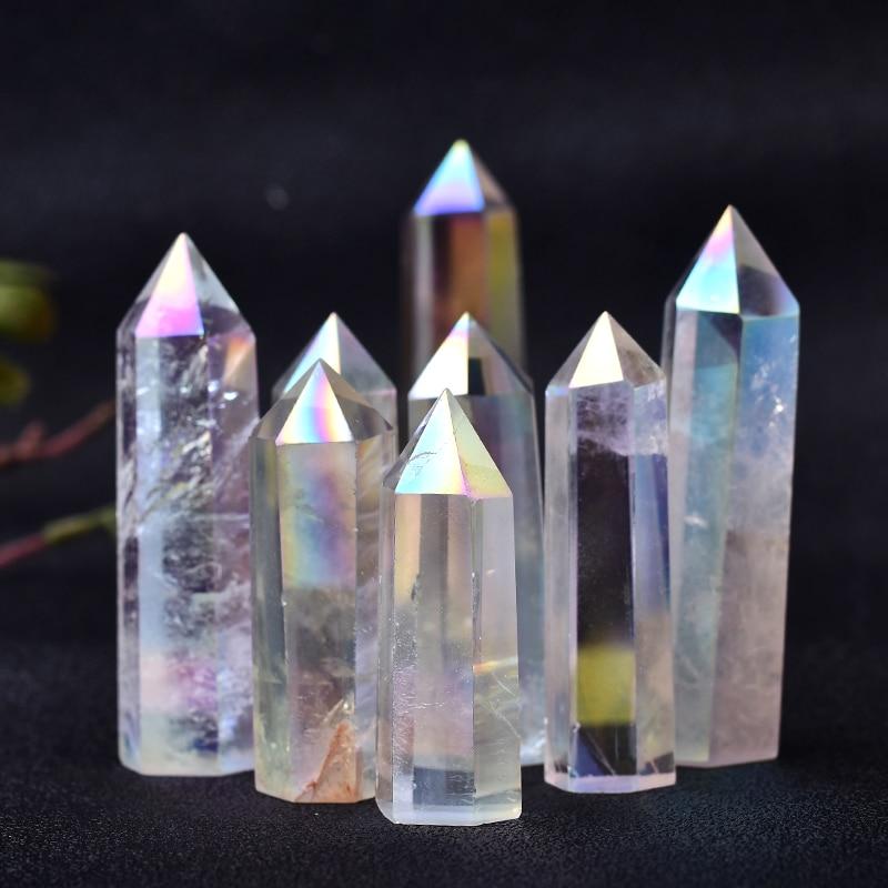 1 шт. натуральный прозрачный кварцевый кристалл Aura, лечебный камень, энергетический кварцевый домашний декор рейки, полированный камень, ба...