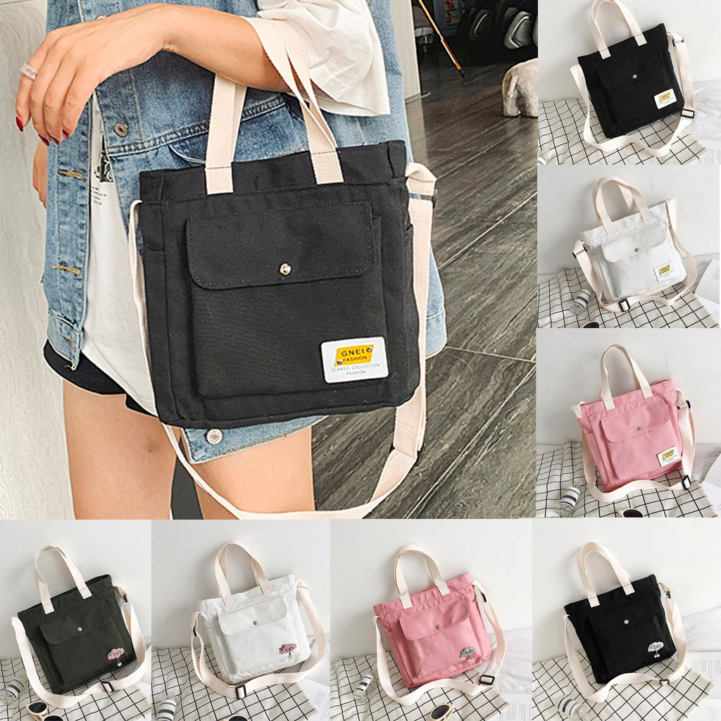 Casual Large Capacity Tote Bag Fashion One Shoulder Slung Canvas Bag Shopper Handbags Foldable Reusable Wild Eco Bags Hot Sale
