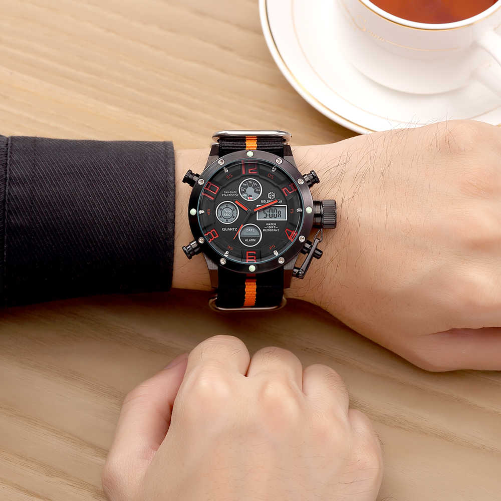 Luxury Top Brand Men Military Sports Watches Men Quartz LED Digital Hour Clock Male Nylon Strap Wristwatch Relogio Masculino