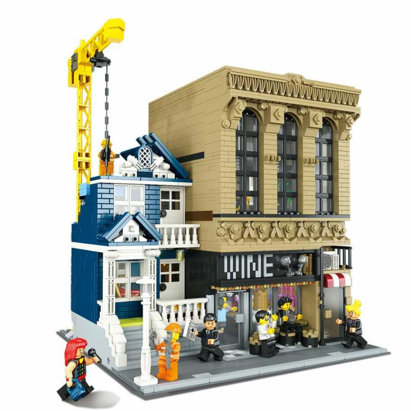 2020 NEW 15035 Bar and Financial Company Classic Building blocks MOC creator city street view model toys for kids christmas gift image