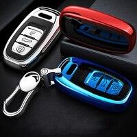 Haute qualité TPU Chrome voiture clé housse sac adapté pour Audi Q5 A4 A5 A6 A7 A8 S5 S6 S7 S8 clé coquille protecteur Auto porte clés|Étui pour clé de voiture|   -