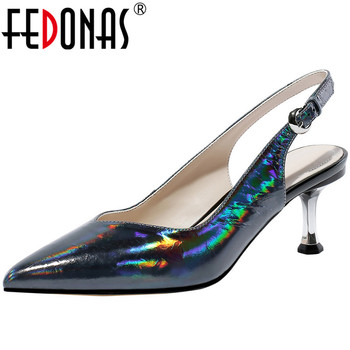 FEDONAS Top Quality Women Pointed Toe Pumps Slip On Cow Leather Shoes Woman High Fine Heels Pumps Spring Summer Shoes Woman