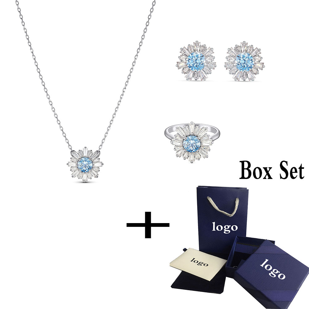 Fashionable New SUNSHINE Blue Crystal Necklace Jewelry  Simple And Elegant Gift For Girlfriend Birthday Memorial Best Gift