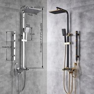 Image 5 - Juego de grifería de ducha de oro blanco de lujo, 5 funciones, montaje en pared, cabezal de ducha de lluvia con ducha de mano, caño de bañera, grifo mezclador de bidé