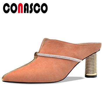 CONASCO Summer New Casual Fashion Kid Suede Women Sandals Slippers Pumps Mules Rhinestone Pointed Toe High Heels Shoes Woman