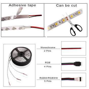 LED Strip 5050 2835 DC 12V Waterproof Flexible RGBW RGB Led Light Strip Warm White 60 LEDs/m 5M Bande Tira Ribbon LED Diode Tape