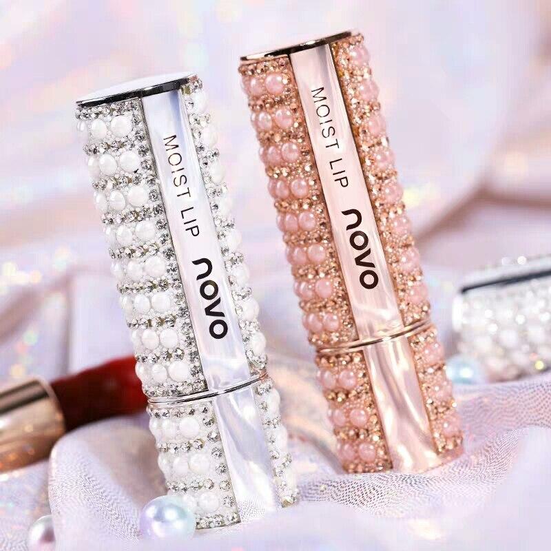 Novo novo pérolas diamante shinny jewerly batom fosco à prova dlong água longa duração fácil de usar lábios maquiagem nude cosméticos sexy cor