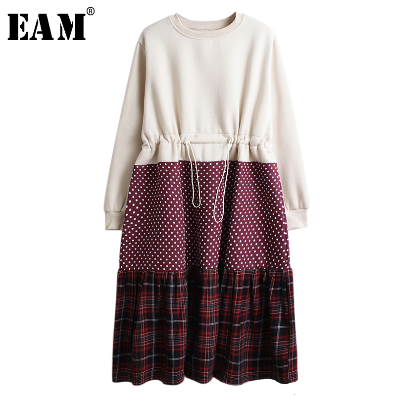 [EAM] Women Drawstring Dot Plaid Big Size Midi Dress New Round Neck Long Sleeve Loose Fit Fashion Tide Early Spring 2020 1M848