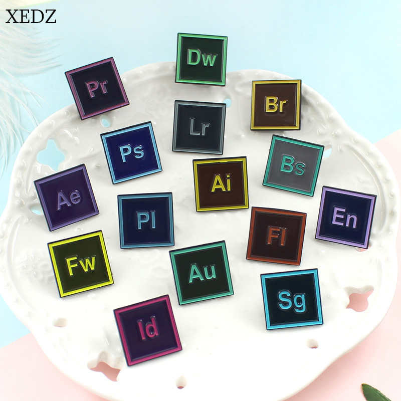 XEDZ New computer software icon brooch fashion personality PS AI various drawing software badge denim clothes pendant jewelry gi image