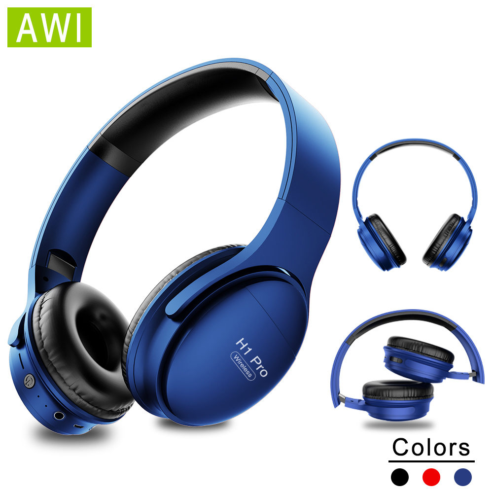 AWI H1 <font><b>Bluetooth</b></font> Kopfhörer Wireless Headset Stereo Über-ohr Noise Cancelling-kopfhörer <font><b>Gaming</b></font> Headset mit Mic Unterstützung TF Karte image