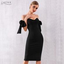 Adyce 2020 Mùa Hè Mới Trễ Vai Băng Đô Đầm Lưới Hoa Đầm Vestido Đen Chém Cổ Người Nổi Tiếng Đầm Dự Tiệc Sang Trọng Bodycon Câu Lạc Bộ Đầm