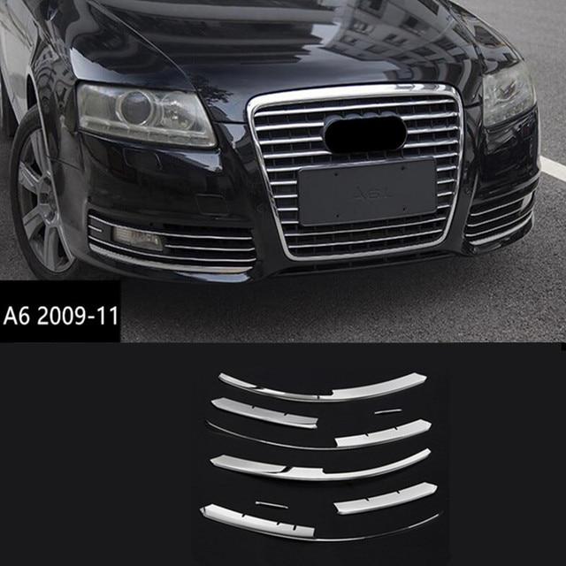 스테인레스 스틸 전면 공기 그릴 장식 안개 조명 그릴 커버 트림 아우디 A6 C6 2009-2011 앞 범퍼 안개 램프 스트립