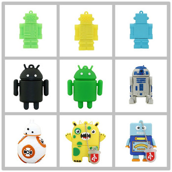 100% Real Capacity Pen Drive Cartoon Cute Android Robot 4GB 8G16GB USB Flash Drive Funny BB8 Monster Memory Stick PenDrive Gifts cute cartoon robot figure style usb 2 0 flash jump drive white 1gb