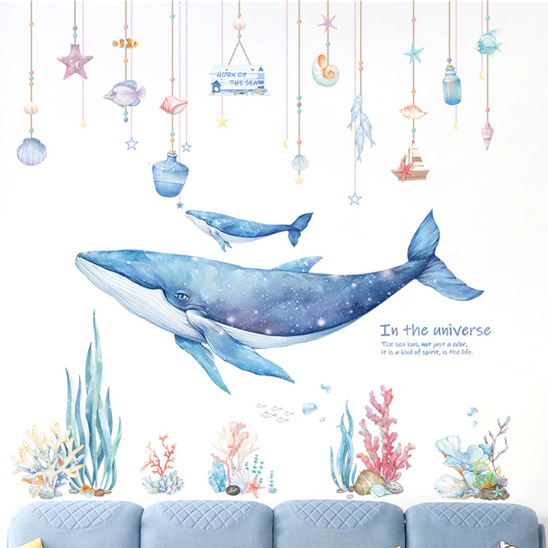 Underwater World Whale Coral Wall Stickers For Kids Rooms Bathroom Home Decor Water Color Wallpapers Stickers Decor