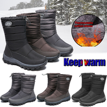 Купить с кэшбэком Women Waterproof Elastic Band Snow Boots Winter Platform Warm Mid Calf Drawstring Thick Plush Non-slip Snow Boot Botas Mujer D25