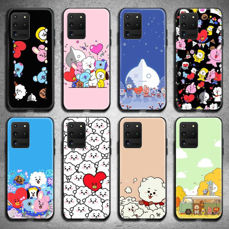 Cute Kpop Cartoon BT21 Happy Heart Phone Case For Samsung Galaxy S21 Plus Ultra S20 FE M11 S8 S9 Plus S10 5G Lite 2020