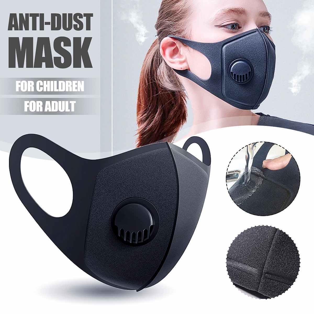 Unisex Adult Children Mouth Masks PM2.5 Dustproof Face Mask Outdoor Mask Travel Protection Anti Smog Particulate Mask Reusable