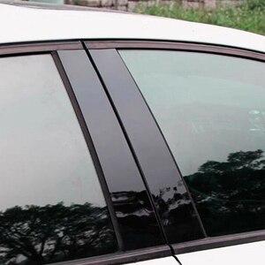 Image 4 - 6pcs BC Pillar Cover Door Window Black Trim Strip for Honda Civic Sedan 2016 2017 2018 New Styling Car Sticker Accessories