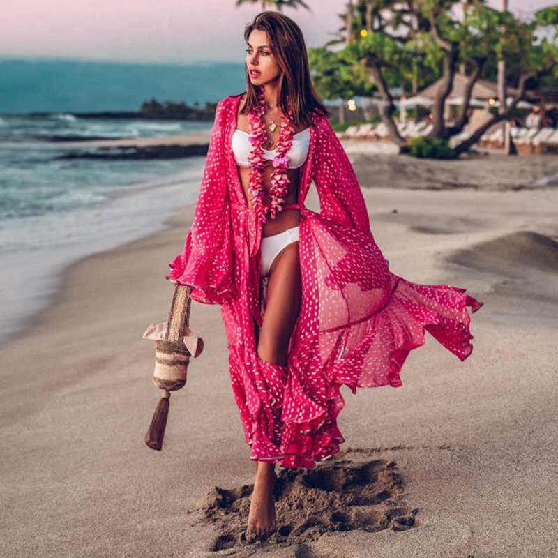 Daun Cetak Bikini Beach Cover Up Tunik untuk Pantai Panjang Kaftan Bikini Cover Up Jubah De Plage Sarung Pantai Baju Renang cover-Up
