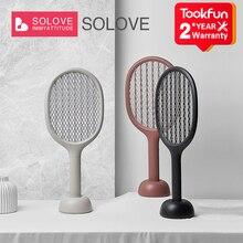 SOLOVE raqueta eléctrica para atrapar mosquitos P1, lámpara antimosquitos Vertical, raqueta manual, recargable por USB, productos para el hogar