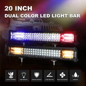 Image 2 - 20 zoll 288W 3 Reihe LED Licht Bar Offroad Led Bar Flash Strobe Fahren Warnung Licht für Auto lkw SUV ATV 4x4 4WD 12v 24V