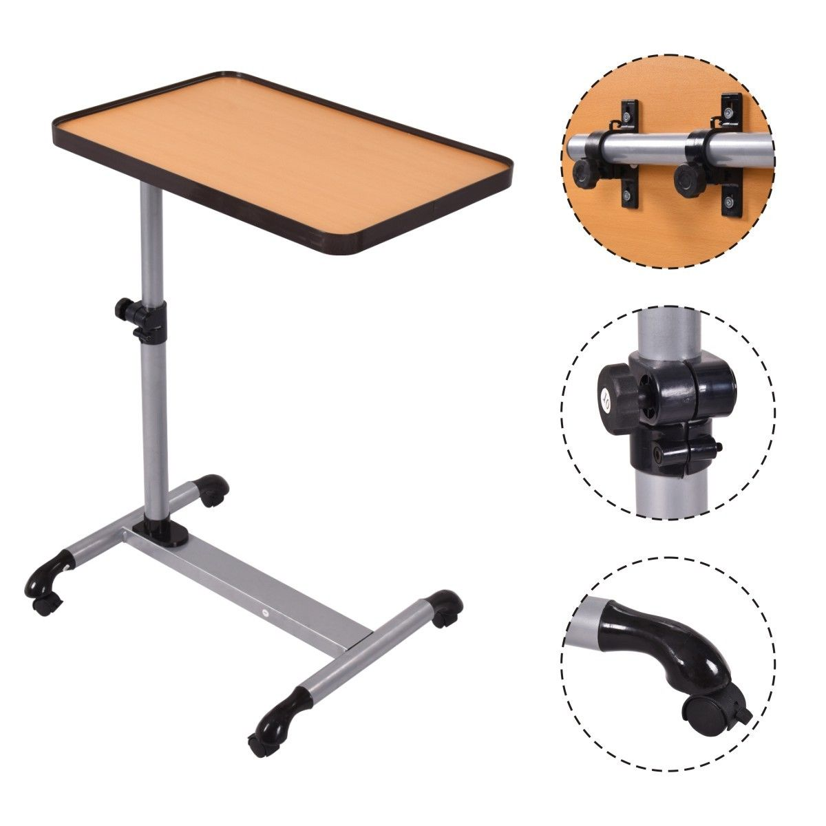 Costway Adjustable Rolling Overbed Table Laptop Desk Tilting Top