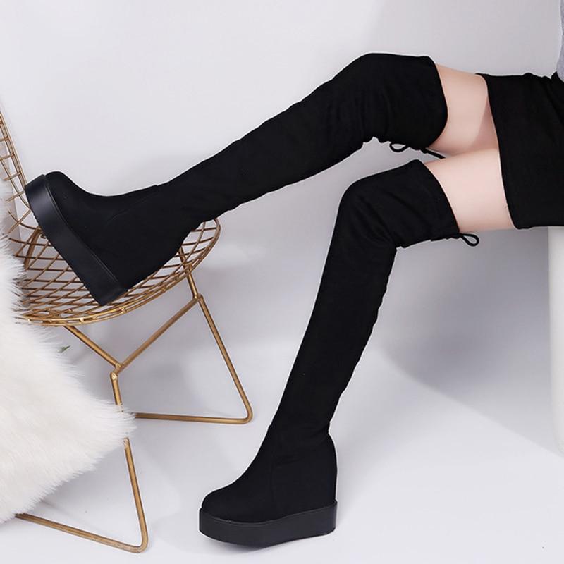 2019 Winter Women High Boots Fashion Hidden Heel Woman Long Boot Warm Plush Thigh High Boots For Women Winter Platform Shoes